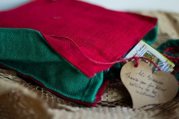 A red and green Fairtrade hessian bag.